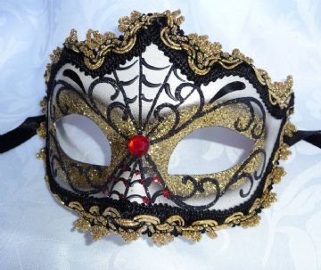 Genuine Venetian Black & Silver Web Halloween half Mask